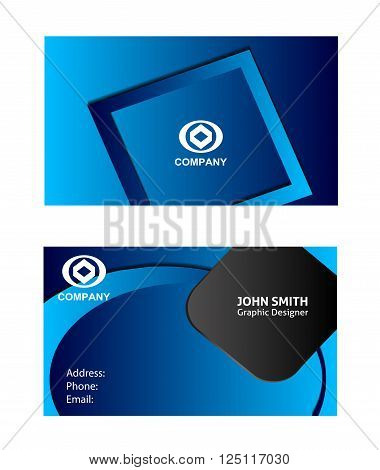 Business card set Abstract elegant black business card template