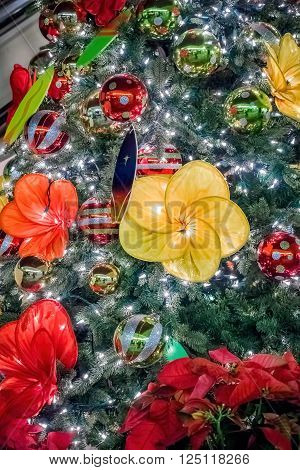 Christmas ornaments on tree. There is a large variety being used in this instance. ** Note: Visible grain at 100%, best at smaller sizes