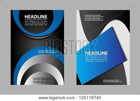 brochure folder leaflet vector template design blue