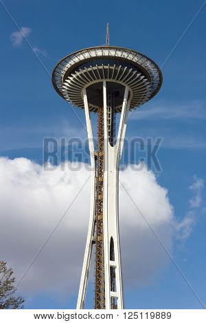 SEATTLE, WASHINGTON, USA - MARCH 25: Space Needle on a sunny spring afternoon in Seattle on March 25, 2016.