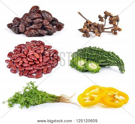 paprika coriander Bitter melon red beans Zanthozylum raisins on white background