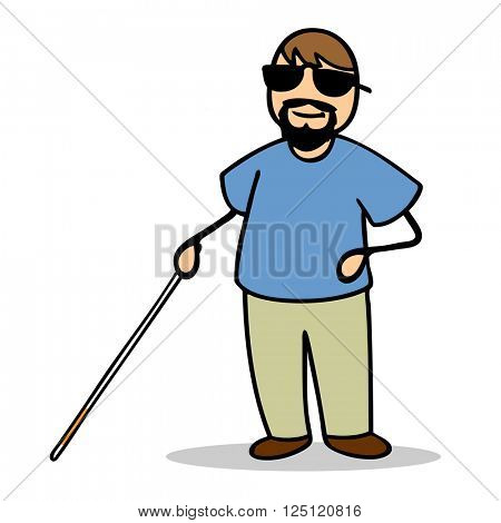 Smiling blind cartoon man with a cane and sunglasses
