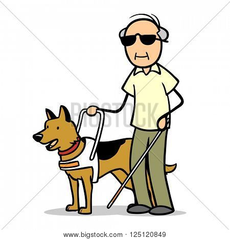 Blind old man with cane and a guide dog
