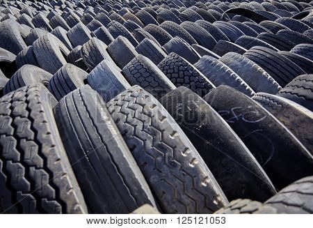 Tires In Rows For Disposal Recycling