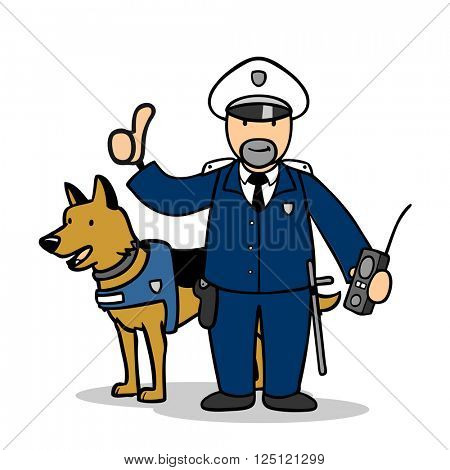 Cartoon police officer with protection dog holding thumbs up