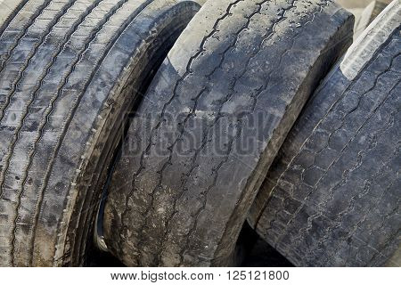 Worn Truck Tires For Recycling