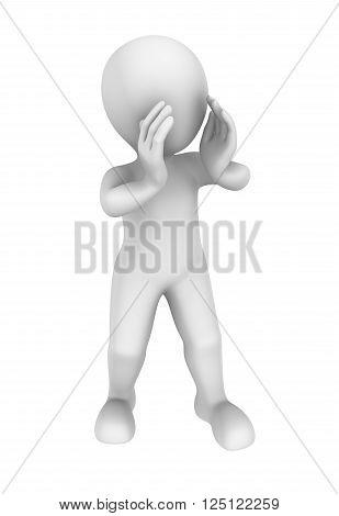 3d person calls using hands. 3d illustration.