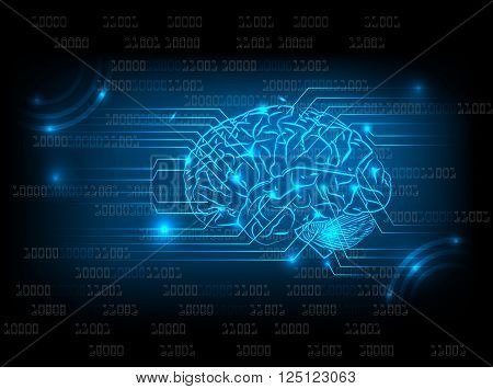 Abstract electric circuit with brain tecnology concept