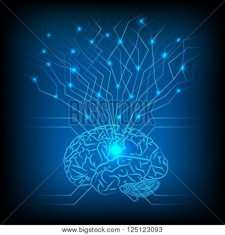 Abstract electric circuit with brain tecnology network