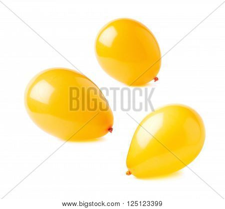 Inflated orange air balloons isolated over the white background, set collection of three different foreshortenings