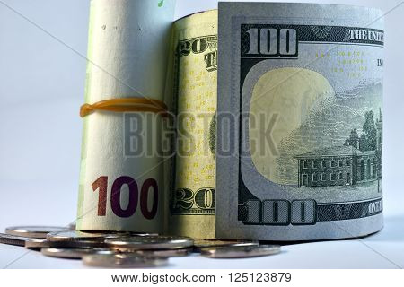Close up Euro and US Dollar and coins