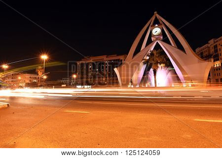 Dubai Clock Tower round about at night with long exposure, Deira, Dubai, United Arab Emirates