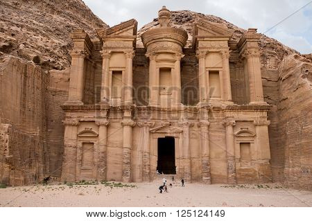 The Monastery monument in the old Nabataean city Petra Jordan