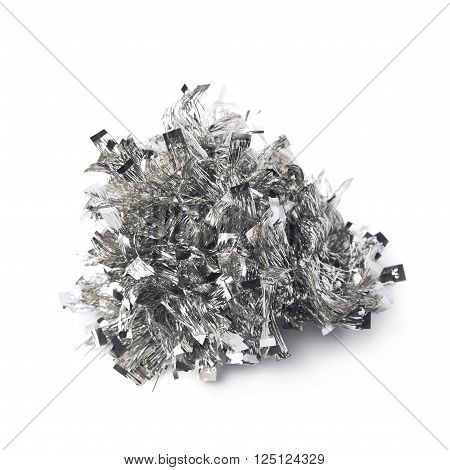 Tinsel silver garland pile isolated over the white background