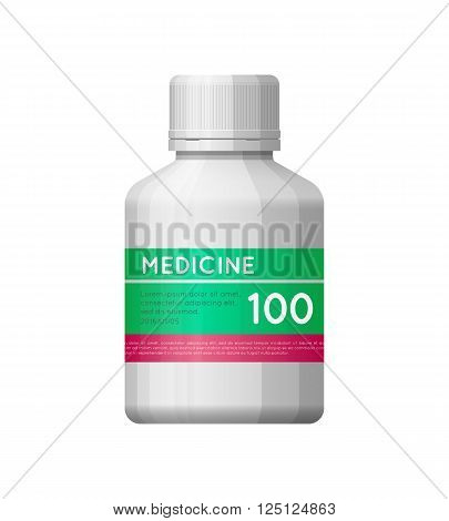 Medicine White Bottle With Label.