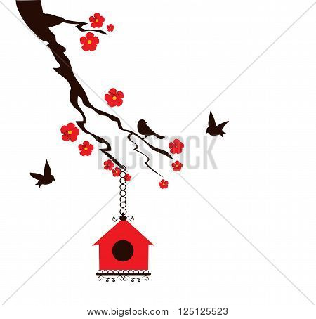 vector illustration of a floral branch with birds and bird house
