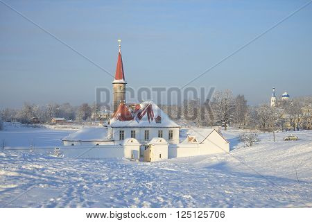 View of Priory Palace frosty january day. Gatchina, Leningrad region, Russia
