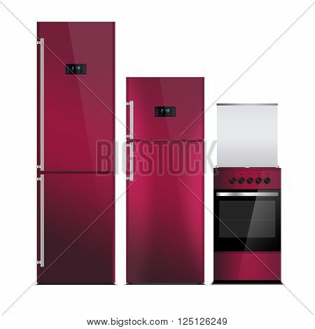 Household appliances on a white background. Cherry color refrigerators and stove isolated on white. Silver. Fridge freezer. The external LED display, with blue glow. Gas Cooker, stove, oven.
