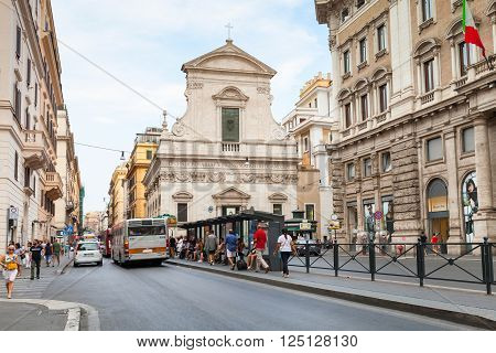 Street View Of Largo Chigi, Rome In Summer