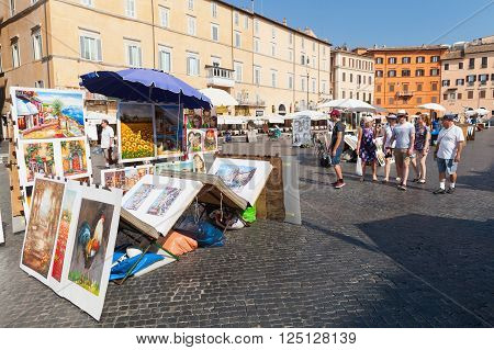 Piazza Navona, Street View With Paintings For Sale