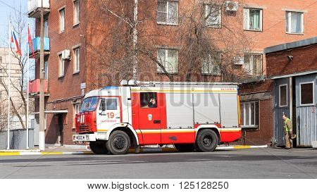 Kamaz As A Russian Fire Engine, Stands Near Garage
