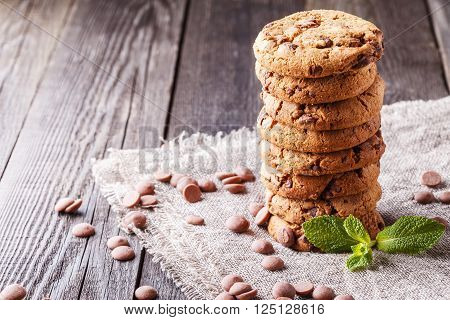 Chocolate chip cookies with mint and chocolate drops selective focus.