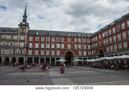 MADRID, SPAIN - JULY 4, 2013: Mayor plaza in Madrid in a beautiful summer day.