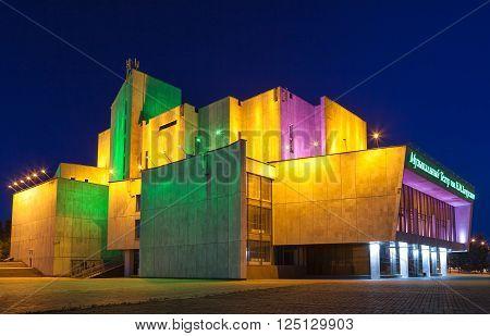 Irkutsk - Russia June 2013 Irkutsk musical theater named after NM Zagurskiy. Night city.