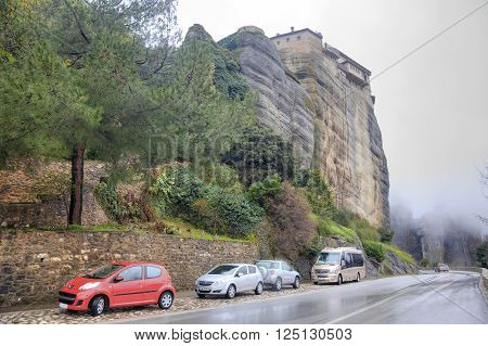 METEORA GREECE - March 13.2016: Road in monastery on the top of rock in a monasterial complex Meteora