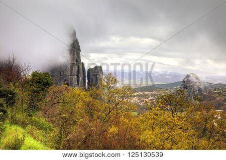 Greece. Fog and cloud. The scenic Meteora Rocks