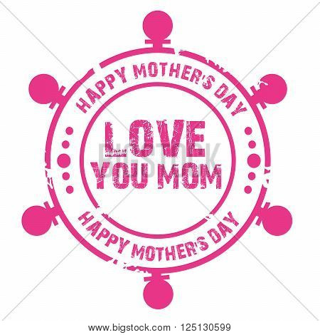 illustration of a stamp for Happy Mother's Day.