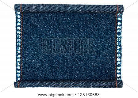 Denim frame folded in the form of manuscripts isolated on a white background with space for your text