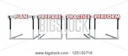 Plan Prepare Practice Perform Jumping Over Hurdles Achieve Success