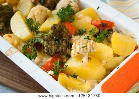 ... casserole of various vegetables with bechamel sauce. Vegetarian dish