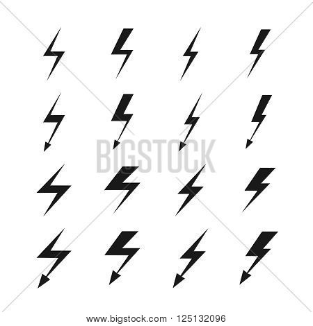 Lightning vector signs. Lightning bolt icons, thunder bolt symbols or flash pictograms