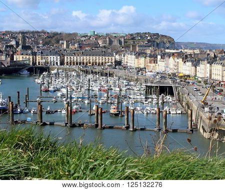View of the town of Dieppe and its picturesque harbour in Normandy, France.