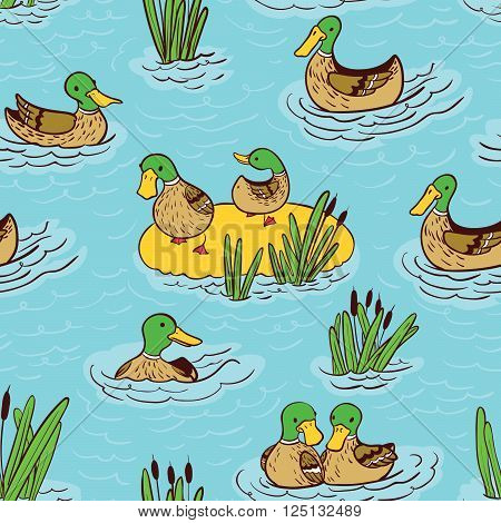 Vector doodle seamless pattern illustration with ducks and reed on water