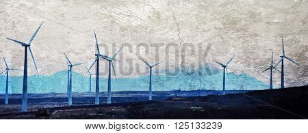 Landscape with a wind park in the morning light