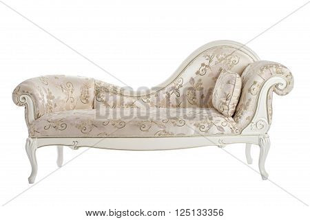 Carved couch in the Renaissance Baroque isolated on white background.