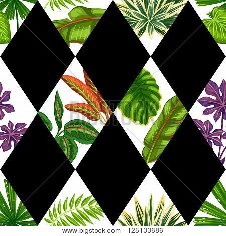 Seamless pattern with tropical plants and leaves. Background made without clipping mask. Easy to use for backdrop, textile, wrapping paper.