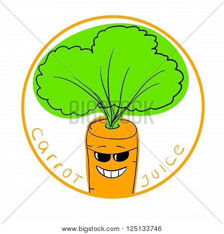 Vector illustration funny carrot cartoon character in a round frame with handwritten words Carrot Juice against white background