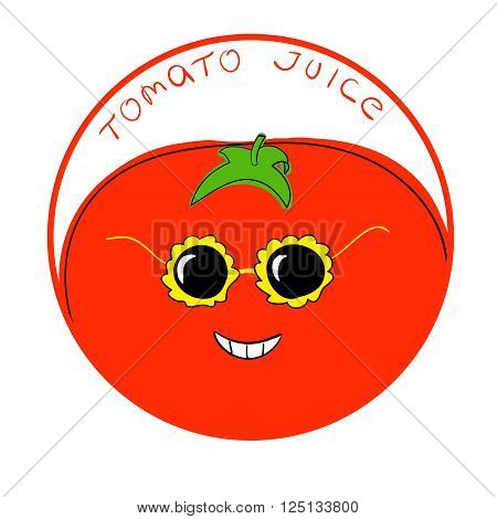 Vector illustration funny tomato cartoon character in a round frame with handwritten words Tomato Juice against white background