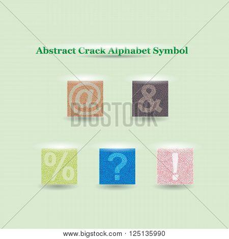 Modern Vector Crack Alphabet. Crack Font. Symbols Crack Letters. Modern crack pattern Lettering. Crack Alphabet