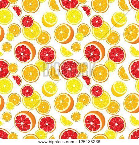 Vector seamless background of lemon, orange and grapefruit slices on white background.