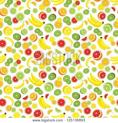 Vector seamless background of lemon, orange, lime, grapefruit, kiwi slices and bananas. Multivitamin fruits. White background.