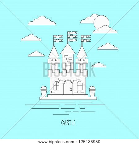 Lineart architecture illustration. Castle with flags on blue background.