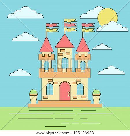 Cute little old european lineart flat vector castle.