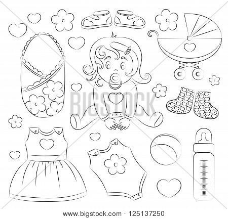 Baby girl design elements  with pram, rattle, pacifier, baby, rompers and other
