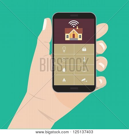 Flat color design style modern vector illustration concept of smart house technology system. Centralized control Smart House. For home control infographic design element. Hand holding smart phone