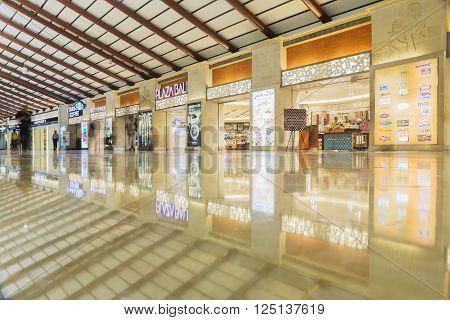 JAKARTA INDONESIA APRIL 5 2016 : Interior Jakarta (Soekarno-Hatta) International Airport is the main airport serving the greater Jakarta area on the island of Java